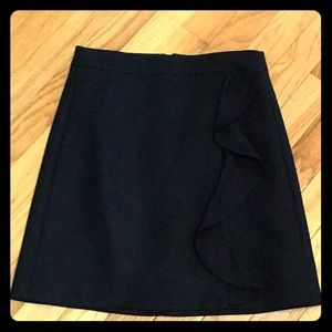 J.Crew black wool skirt with side ruffle size 00